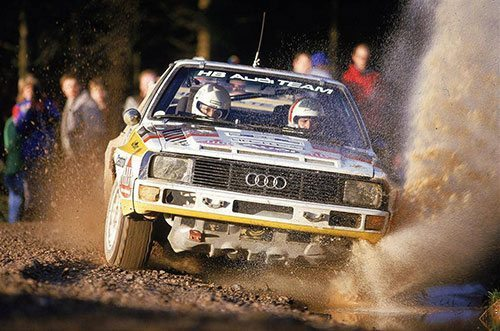 Michele-Mouton driving an Audi Quattro in the World Rally Championship