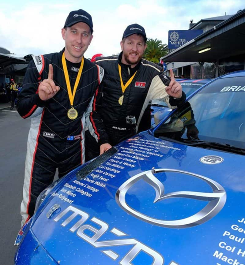 Ben Searcy (right) teamed up with Brendan Reeves to win the Coromandel Rally in New Zealand in 2017. Photo: Geoff Ridder