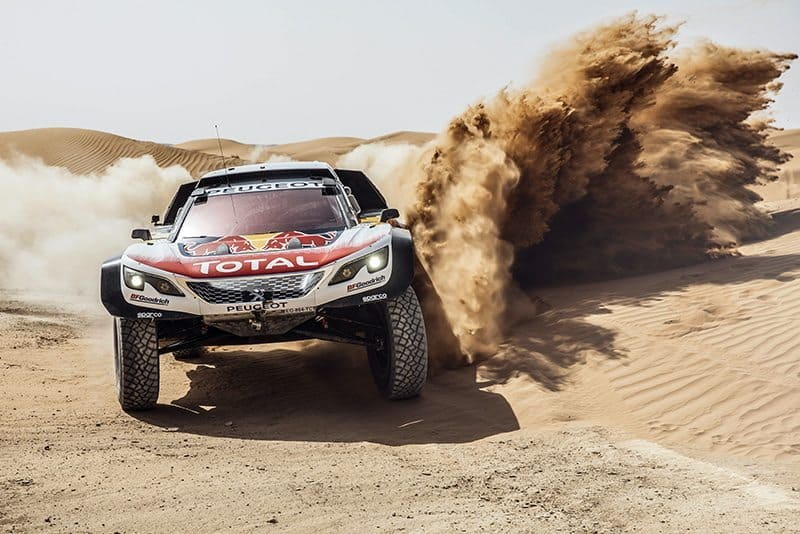 Stephane Peterhansel from Team Peugeot Total performs during a test run with the new Peugeot 3008 DKR Maxi