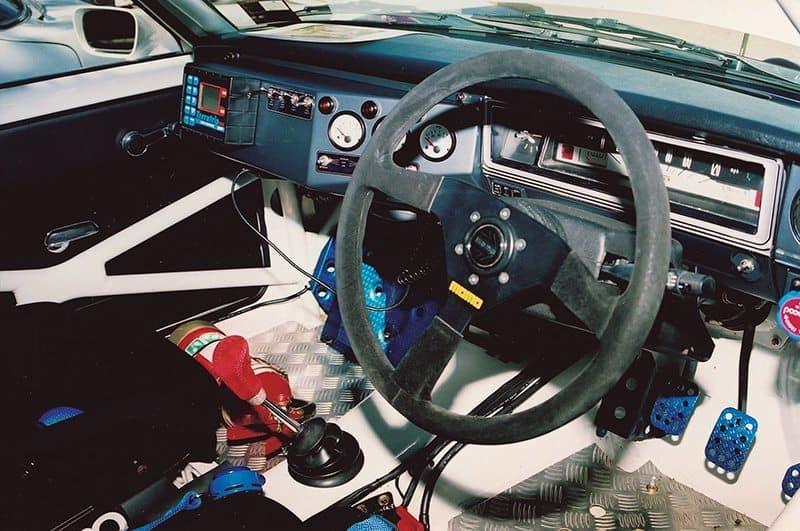 Datsun 1600 rally car interior