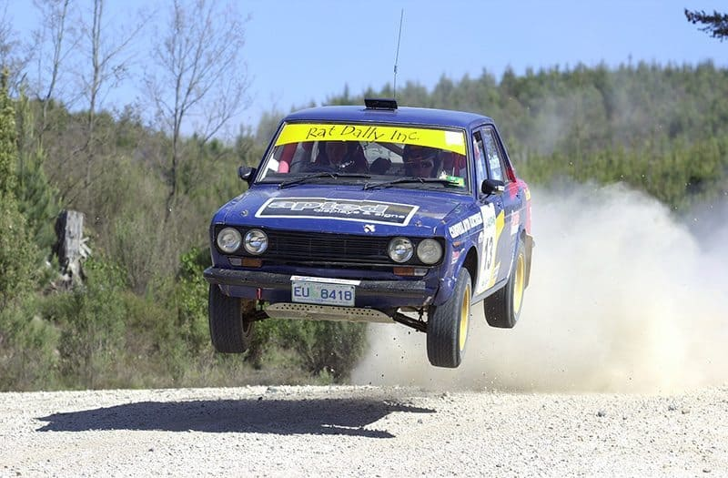 Datsun 1600 rally cars jumps in Tasmania