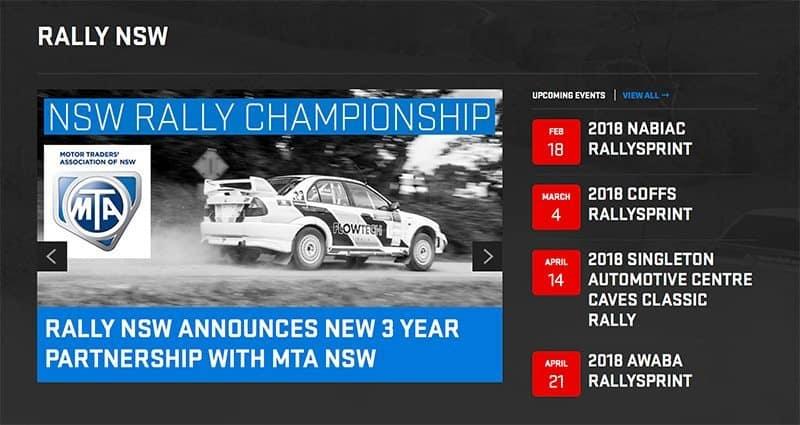 Rally NSW website