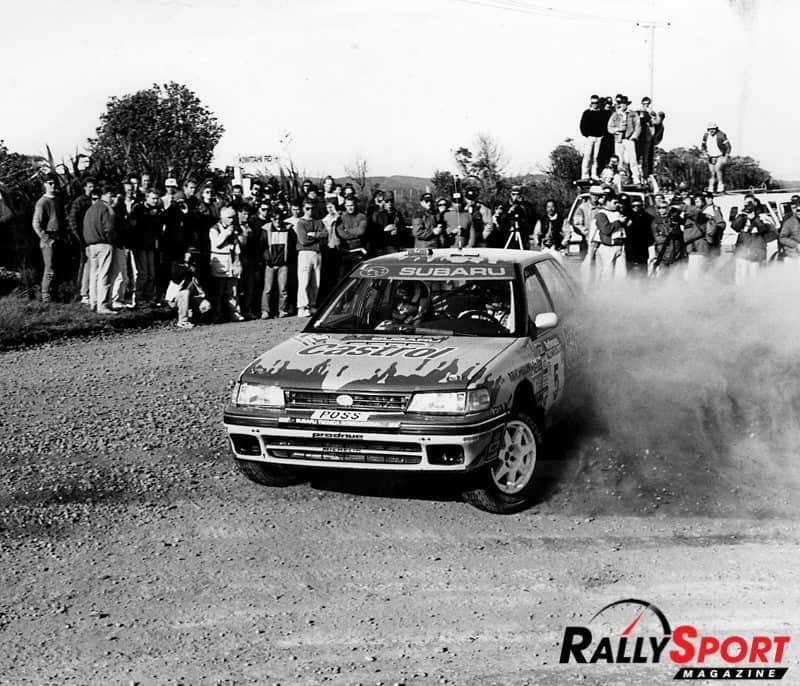 Possum Bourne thrills his home fans at Rally New Zealand in 1992. Photo: Martin Holmes