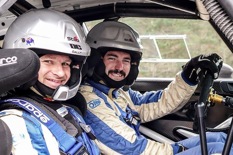 Nathan Quinn and co-driver Dave Calder. Photo: Geoff Ridder