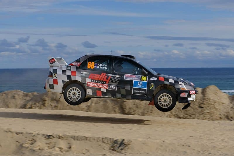 Nathan Quinn on his way to the Australian Rally Championship title at WRC Rally Austrlaia 2017. Photo: Geoff Ridder
