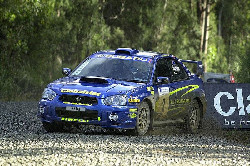 Co-driving for Dean Herridge in the factory Subaru in a Tasmanian ARC round in 2007.