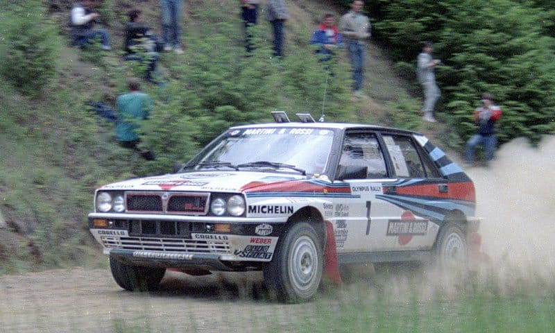 Miki Biasion driving his factory Lancia Delta on the 1988 Olympus Rally.