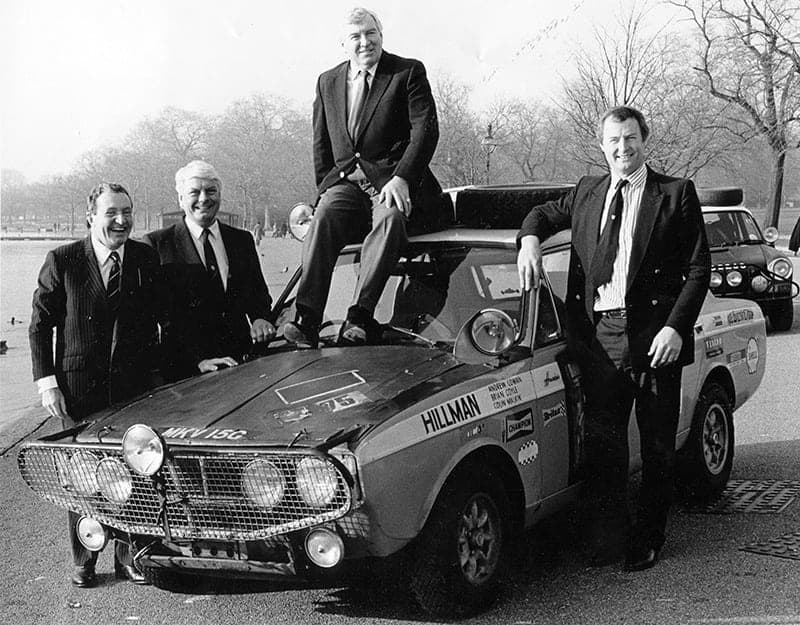 Cowan (on roof) is reunited with (L-R) Paddy Hopkirk, Roger Clark and Eric Poole before the 1993 London to Sydney Marathon rerun.