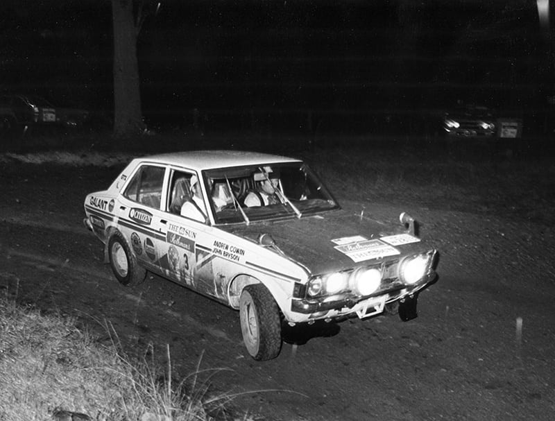 Andrew Cowan and John Bryson won the 1972 Southern Cross Rally in a Mitsubishi Galant.