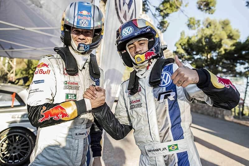 World Rally Champion Sebastien Ogier and soccer star, Neymar Jnr, wear FHR during a VW media day.